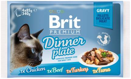 Влажный корм для кошек Brit Premium, курица, говядина, индейка, рыба, 4шт, 85г