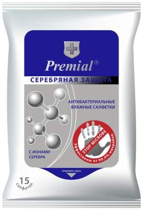Влажные салфетки Premial Серебряная защита Антибактериальные 15 шт