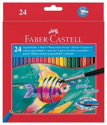 Акварельные карандаши Faber-Castell COLOUR PENCILS с кисточкой, 24 шт