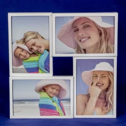 Белая металлическая мультирамка на четыре фотографии 10х15 см