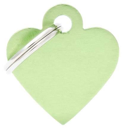 Адресник My Family Basic алюминиевый в форме сердца для кошек и собак (2,5 см, Зеленый)