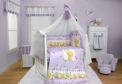 BOMBUS Комплект в кроватку Мишаня (цвет: сиреневый, 7 предметов) 5473