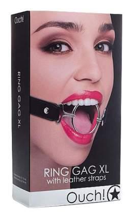 Расширяющий кляп Shots Media Ring Gag XL с черными ремешками