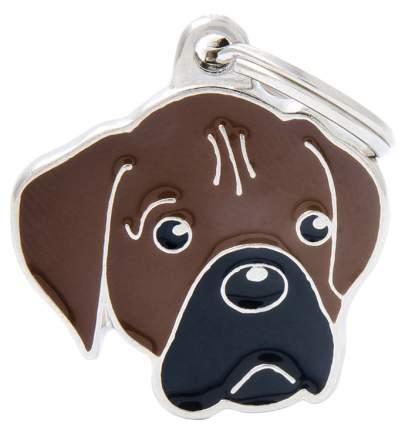 Адресник на ошейник для собак My Family Colors Боскер, средний, 2,9х2,6 см
