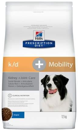Сухой корм для собак Hill's Prescription Diet k/d + Mobility Kidney+Joint Care, мясо, 12кг
