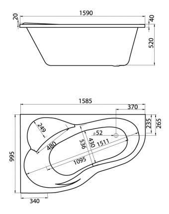 Акриловая ванна Santek Ибица XL 160х100 без гидромассажа левая