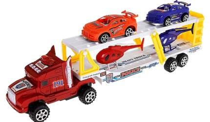 """Инерционный грузовик """"Автоперевозчик"""" с 2 машинками и вертолетами"""