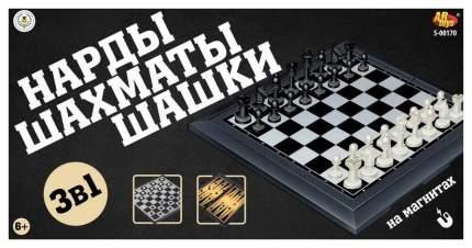 Шахматы, шашки, нарды магнитные 3в1, в коробке, Академия Игр