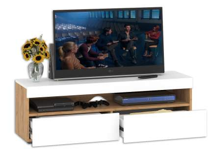 Тумба под телевизор приставная Mobi Альба 1650006 130х36х42 см, дуб крафт золотой