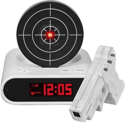 Часы-будильник с мишенью и лазерным пистолетом Gun Alarm