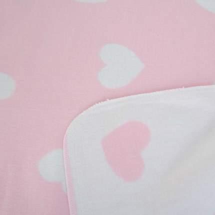 Плед детский Ермолино байковый х/б 140*100 ПРЕМИУМ NEW(фламинго сердечки) роз/фиол