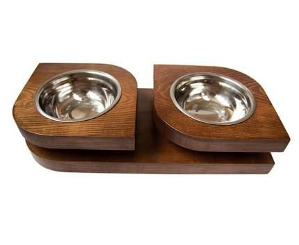 Двойная миска на подставке из бука BEDFOR для небольших собак и крупных кошек Bloom S, кор