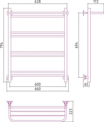 Водяной полотенцесушитель Стилье Версия-Н1 800х600 арт. 00621-8060