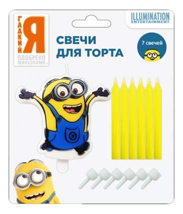 """Росмэн 28309 свечи д/торта с подст """"миньоны"""", 1 фигурная + 6шт*6см"""