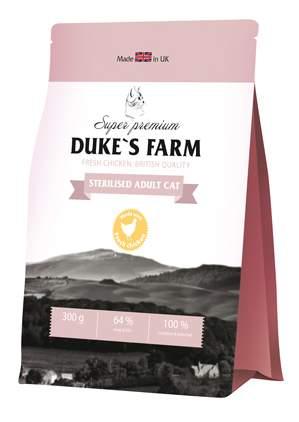 Сухой корм для кошек DUKE'S FARM Sterilised, для стерилизованных, курица, 0,3кг