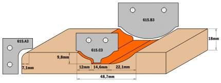 Комплект 2 ножей HM 30x25x2 (профиль A3) CMT 615.A3