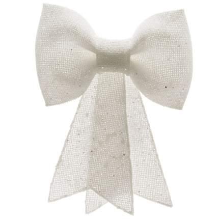 Kaemingk Бант пластиковый с блестками 14 см белый 517489