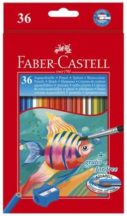 Акварельные карандаши Faber-Castell COLOUR PENCILS с кисточкой, 36 шт