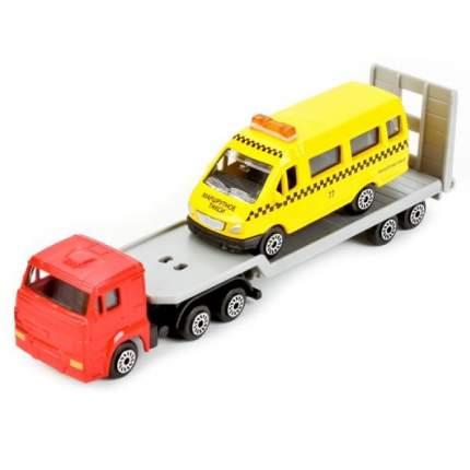 Набор Технопарк камаз автотранспортер + Газель желтый sb-17-28wb