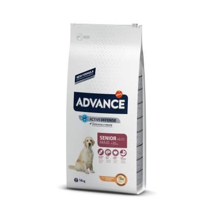 Сухой корм для собак Advance, для пожилых крупных пород, контроль веса, курица и рис, 14кг