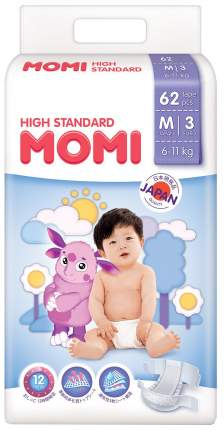 Подгузники Momi High Standard 6-11 кг 62 шт