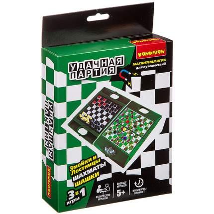 """Удачная партия 3 в 1 """"Bondibon"""" (шахматы, шашки, змейки и лестницы), арт. 8662"""