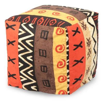 Пуф бескаркасный ПуффБери Квадратный Африкан, размер S, жаккард, разноцветный