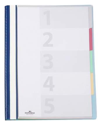 Папка-скоросшиватель Durable Devisoflex Синий, А4, 5 скоросшивателей, 5 разделителей