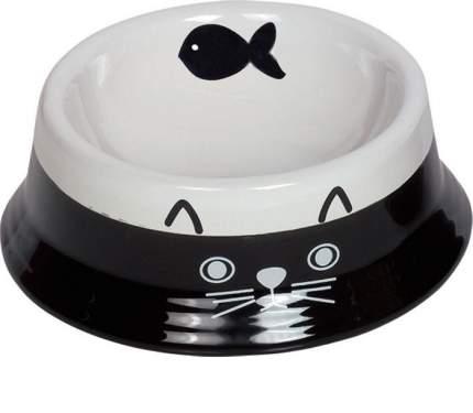 Миска для животных Nobby Cat face, керамическая с рисунком, черно-белая, 140мл