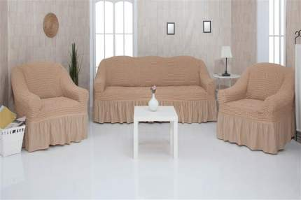 Комплект чехлов на трехместный диван и два кресла с оборкой CONCORDIA, светло-коричневый