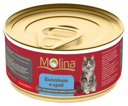 Консервы для кошек Molina, цыпленок, морепродукты, 12шт, 80г
