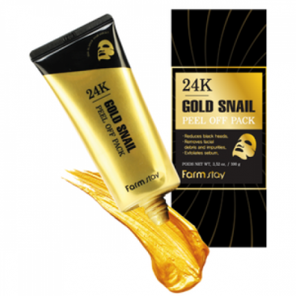 Маска-пленка FarmStay 24K Gold Snail Peel Off Pack с золотом и муцином улитки 100 гр