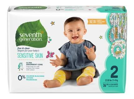 Детские гипоаллергенные подгузники Seventh generation без запаха 36шт 2 размер 5-8 кг