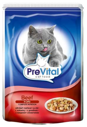 Влажный корм для кошек PreVital Classic, говядина, 100г