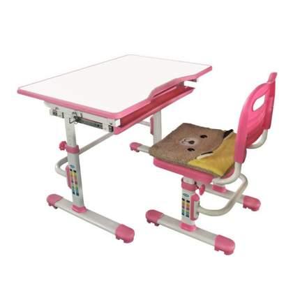 Комплект растущая парта и стул Rifforma SET-10 белый розовый,