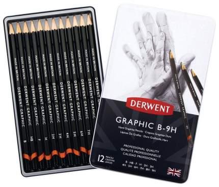Набор чернографитных карандашей Graphic Hard, 12 штук