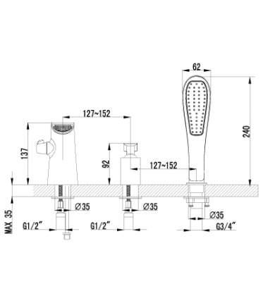 Смеситель для ванны на борт LEMARK Melange LM4945CW хром/белый
