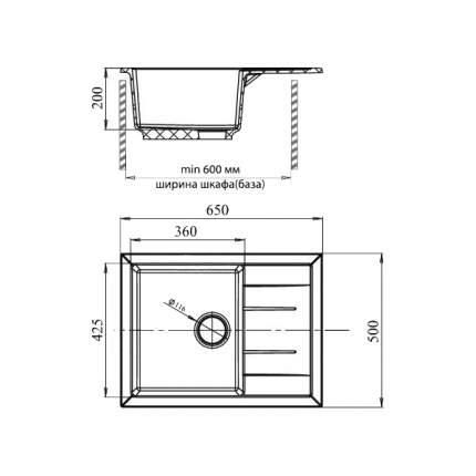 Мойка для кухни гранитная GranFest Quadro GF-Q650L черный