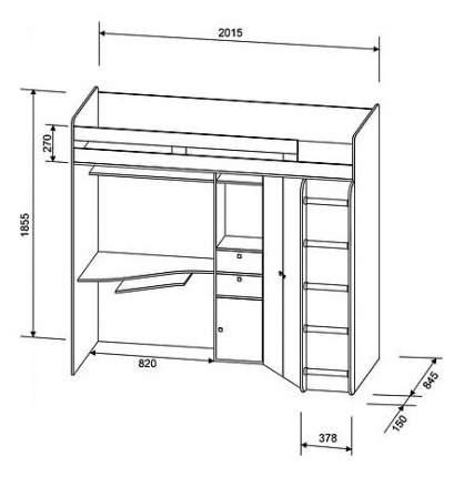 Кровать-чердак РВ мебель Астра дуб молочный/дуб шамони