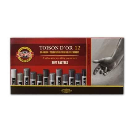 Акварельные мелки Toison D`or 12 серых тонов