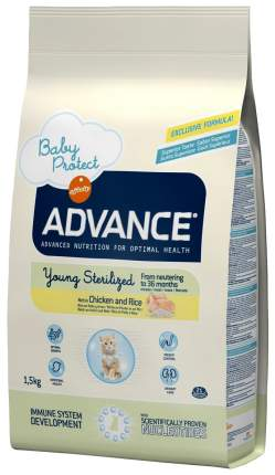 Сухой корм для котят Advance Young Sterilized для стерилизованных до 3 лет, курица, 1,5кг