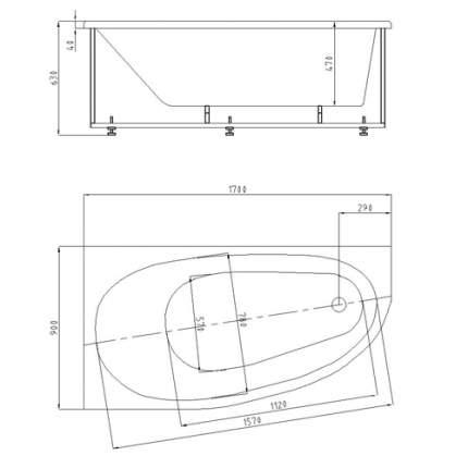 Акриловая ванна  Aquatek DIV170-0000005 Дива 170х90