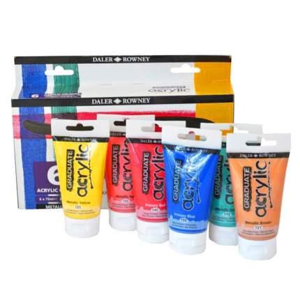 Акриловые краски Daler Rowney Metallic Graduate 6 цветов