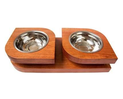 Двойная миска на подставке из бука BEDFOR для небольших собак, крупных кошек Bloom S, крас