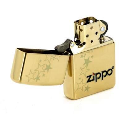 Бензиновая зажигалка Zippo Classic 254B Zippo Stars High Polish Brass