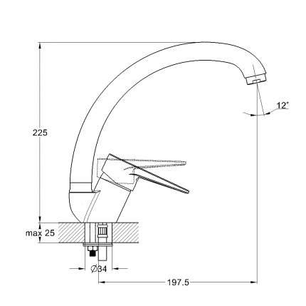 Смеситель для кухонной мойки SOLONE SUP4-A045