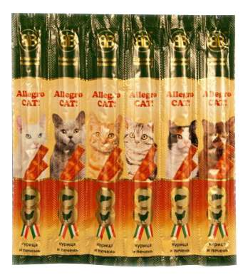 Лакомство для кошек B&B Allegro Cat колбаски, курица, печень, 6 шт по 5 г