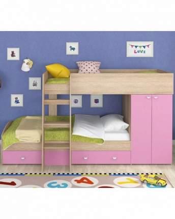 Двухъярусная кровать Golden Kids 2 дуб сонома/розовая