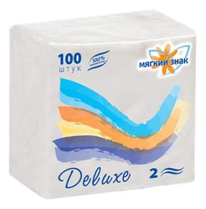 Салфетки бумажные белые Мягкий знак delux 2х-слойные 100 штук