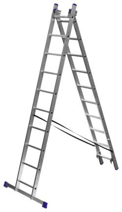 Лестница Зубр универсальная, двухсекционная со стабилизатором, 10 ступеней